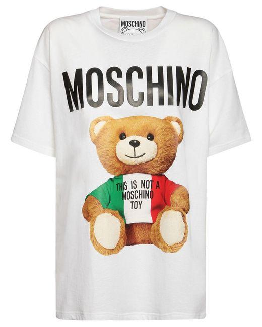 Moschino Italian Teddy コットンジャージーtシャツ White