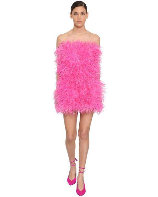 The Attico フェザー ベアトップミニドレス Pink