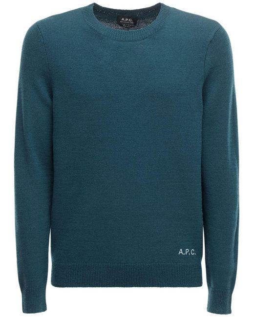 メンズ A.P.C. ウールニットセーター Blue