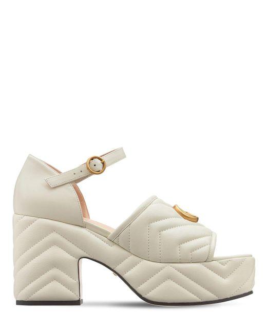 Босоножки На Платформе 95mm Gucci, цвет: White