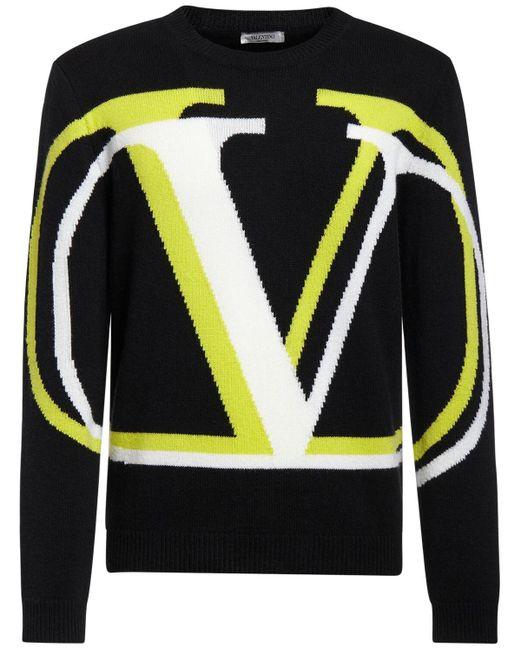 メンズ Valentino インターシャニットカシミア&ウールセーター Black
