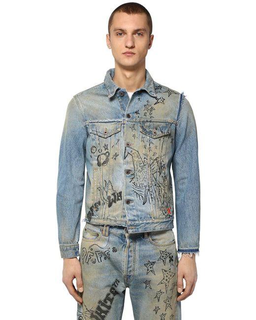 Куртка Из Денима С Принтом Off-White c/o Virgil Abloh для него, цвет: Blue
