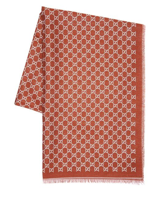 Шарф Из Хлопка С Металлической Нитью Gucci, цвет: Brown