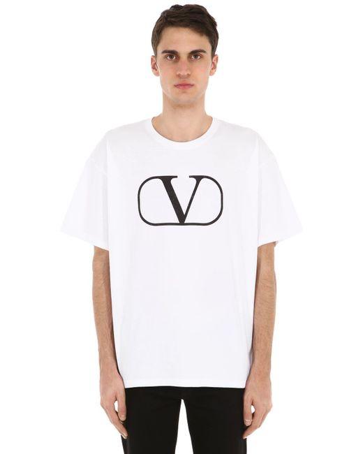 メンズ Valentino Vlogo コットンジャージーtシャツ White