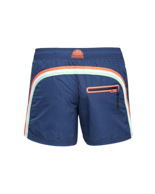 Плавательные Шорты Из Нейлона С Логотипом Sundek для него, цвет: Blue