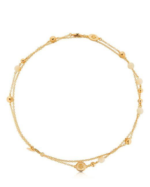 Tory Burch - Metallic Logo Double Necklace - Lyst