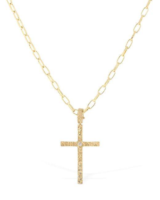 MARCO DAL MASO - Metallic Piripono Cross Necklace W/ Diamonds for Men - Lyst