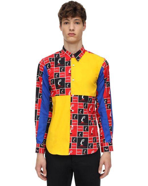 メンズ Comme des Garçons コットン パッチワークシャツ Multicolor