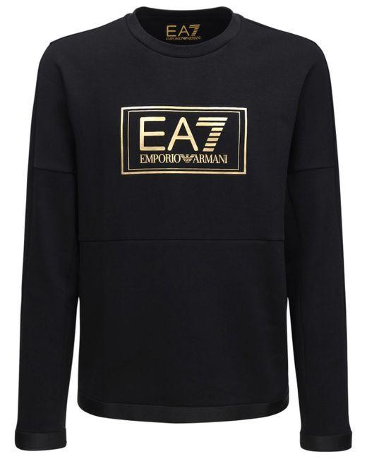 メンズ EA7 コットンブレンドスウェットシャツ Black