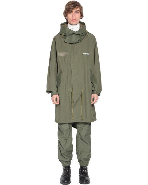 Пальто Из Хлопка С Капюшоном Ambush для него, цвет: Green