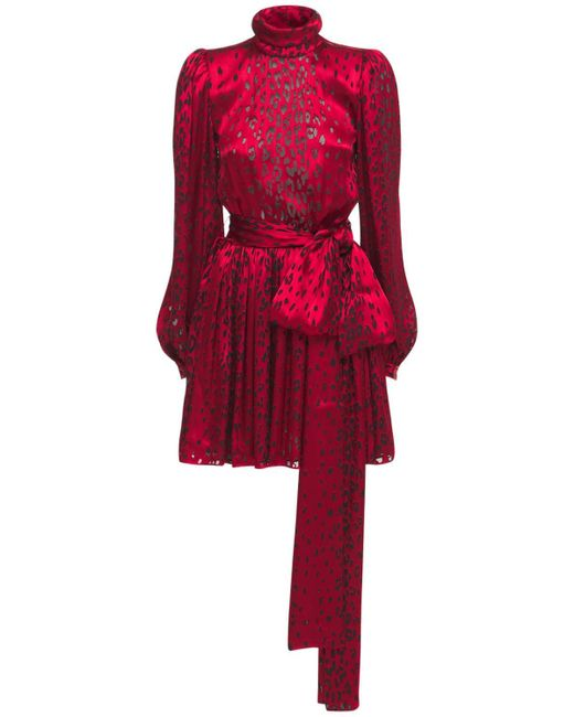 Saint Laurent シルクサテンミニドレス Red