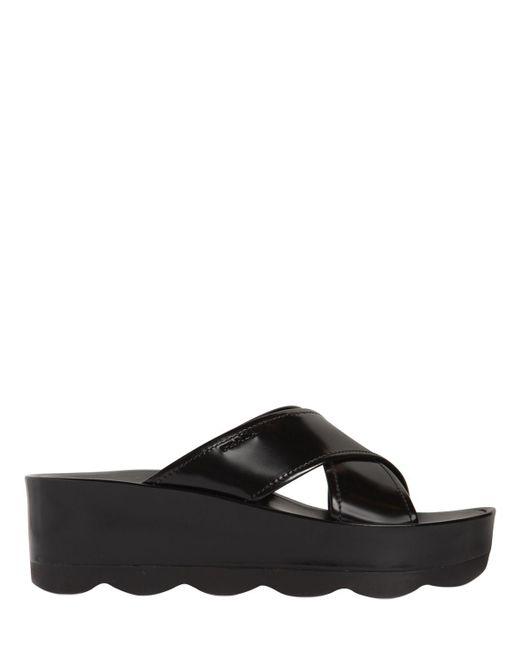 Prada - Black 60mm Brushed Leather Wedge Slide Sandals - Lyst