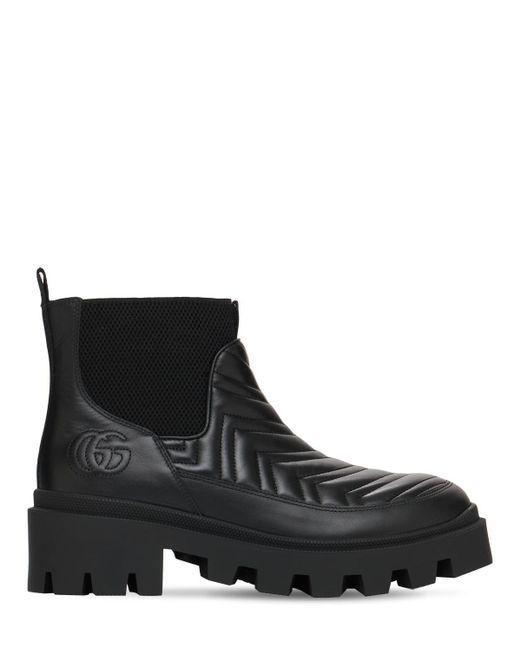 Gucci Matelasse レザーチェルシーブーツ 25mm Black