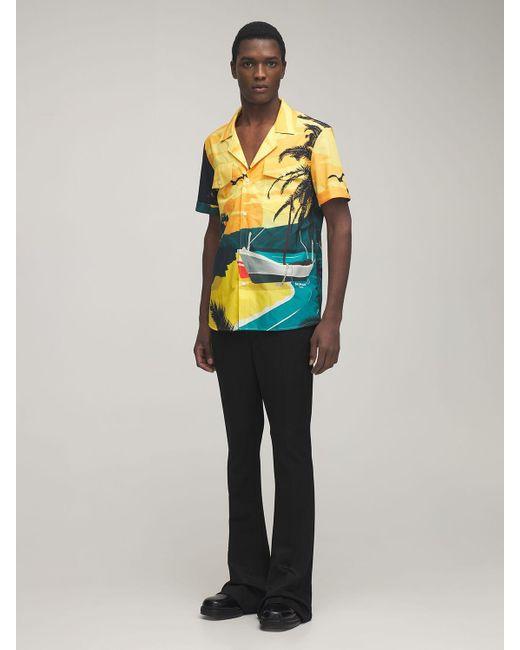 メンズ Balmain コットンボウリングシャツ Yellow