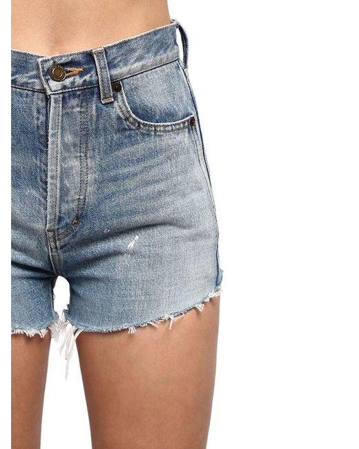 Saint Laurent Women's Blue High Waist Cotton Denim Shorts
