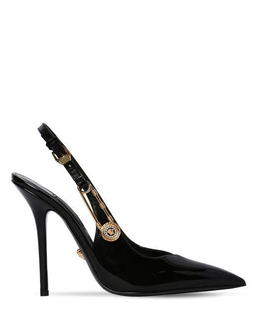 Versace パテントレザー スリングバックパンプス 110mm Black