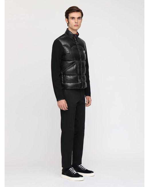 Куртка На Пуху Из Нейлона И Трикотажа Moncler для него, цвет: Black