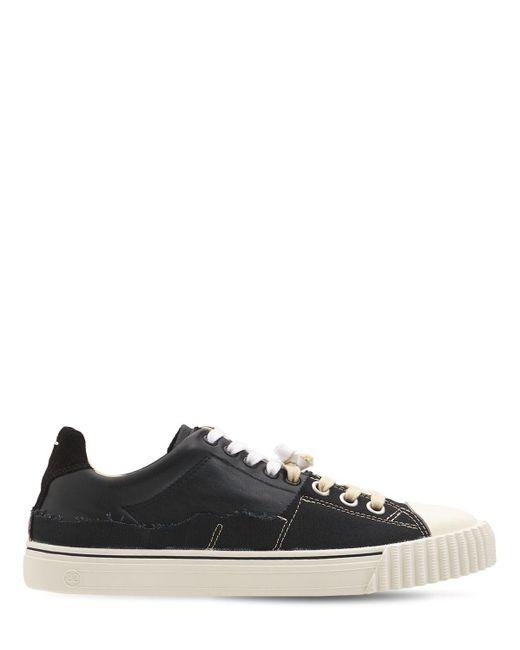 Maison Margiela Black Low Top Cotton & Leather Sneakers for men