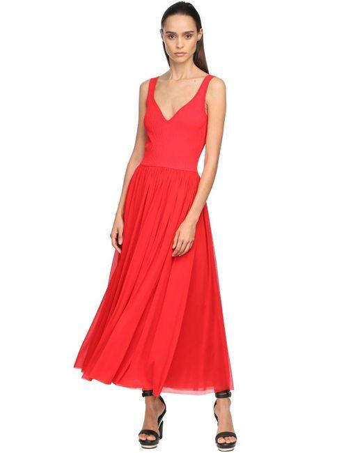 Alexander McQueen ビスコースジャージーミディドレス Red