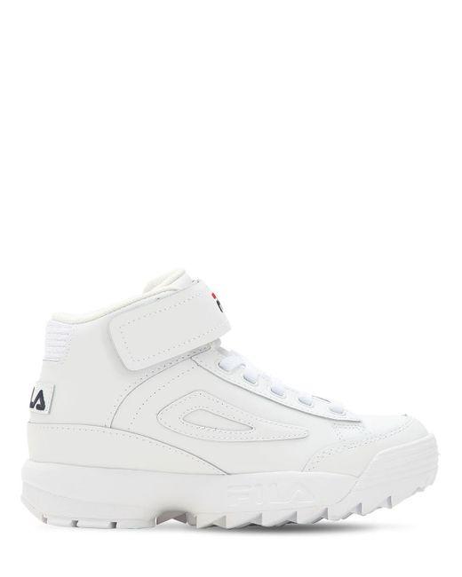 Sneakers De Piel De Plataforma Fila de color White