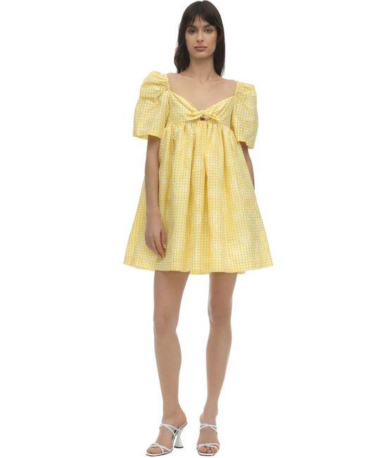 Pushbutton コットンブレンドギンガムミニドレス Yellow