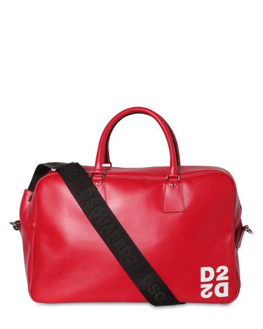メンズ DSquared² レザーボウリングバッグ Red