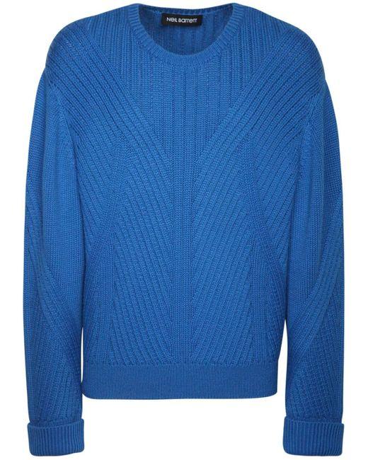 メンズ Neil Barrett オーバーサイズウールブレンドセーター Blue