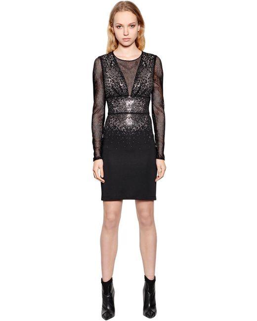 Just Cavalli ビスコースジャージー&メッシュドレス Black