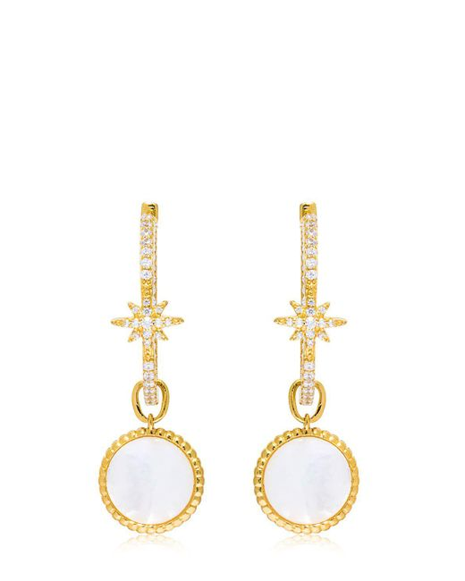 Apm Monaco - Metallic Star Earrings With Mother Of Pearl Charm - Lyst