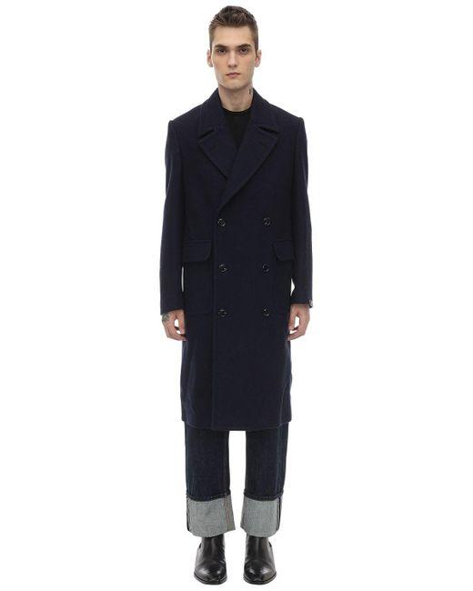 メンズ Mp Massimo Piombo ダブルブレステッドウールコート Blue