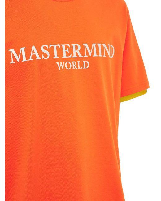 メンズ MASTERMIND WORLD バイカラーコットンtシャツ Orange
