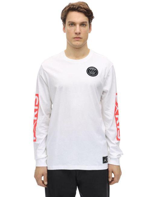 Psg L/s Cotton T-shirt Nike для него, цвет: White