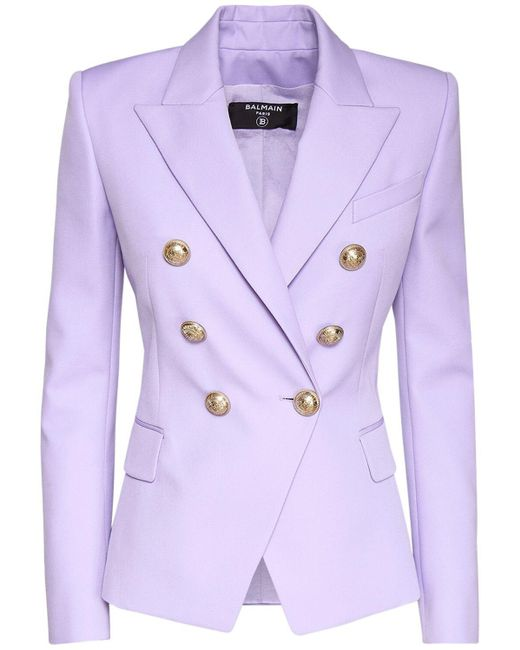 Двубортный Блейзер Из Шерсти Balmain, цвет: Purple