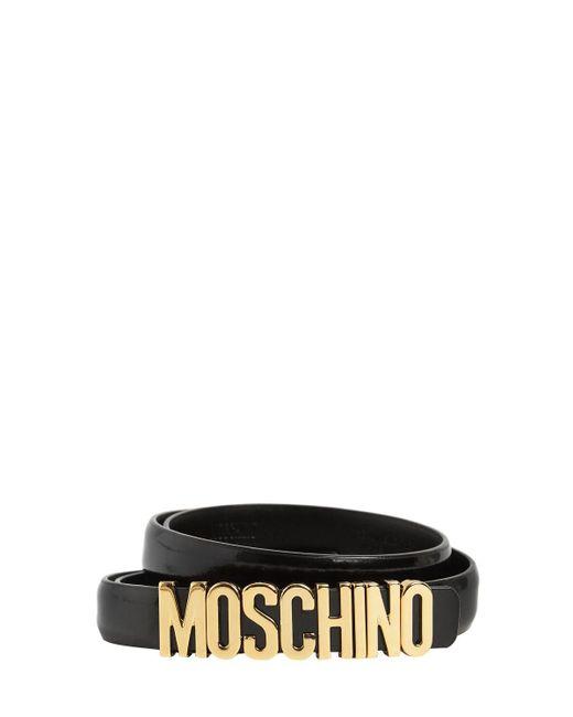 Moschino レザーベルト 2cm Black
