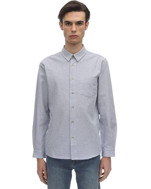 メンズ A.P.C. 92 ピンストライプコットンシャツ Blue