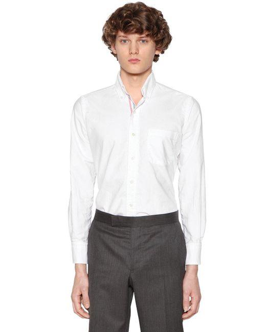 Lyst thom browne cotton oxford shirt w printed stripes for Thom browne white shirt