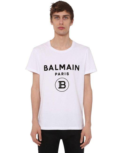 Balmain White Flocked Logo Cotton Jersey T-shirt for men