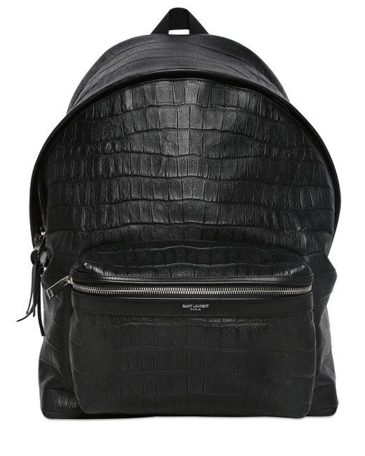 Saint Laurent | Black Croc Embossed Leather Backpack | Lyst