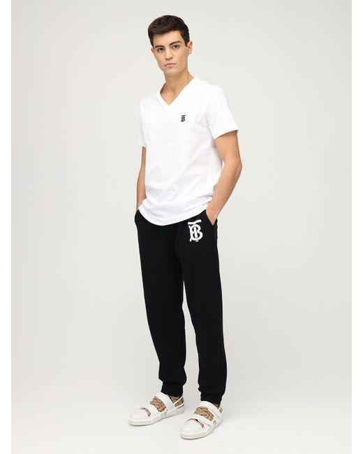 メンズ Burberry Tb コットンtシャツ White