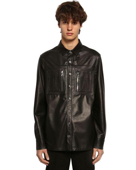 メンズ Neil Barrett レザーシャツジャケット Black