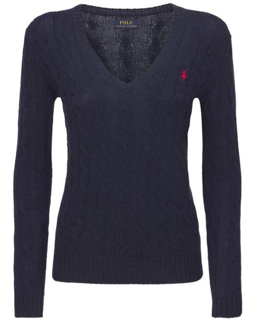 """Polo Ralph Lauren Blue Sweater Aus Wolle Und Kaschmir """"kimberly"""""""