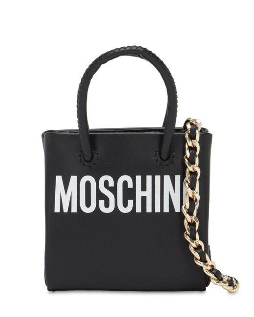 Кожаная Сумка Shopping Moschino, цвет: Black