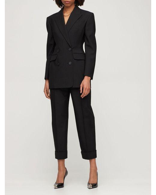 Двубортный Блейзер Из Шерсти Alexander McQueen, цвет: Black