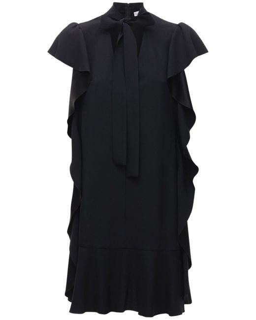 RED Valentino フリルクレープサテンミニドレス Black