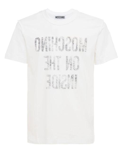 Футболка Из Хлопкового Джерси Moschino для него, цвет: White