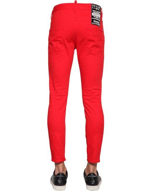 Jean Coupe Skinny Dan En Denim De Coton 15Cm DSquared² pour homme en coloris Red