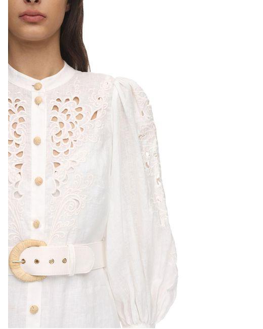 Zimmermann 刺繍リネンミディドレス White