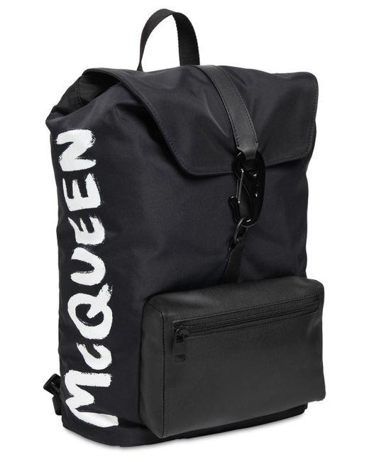 メンズ Alexander McQueen ナイロンバックパック Black