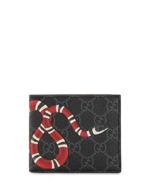 Portefeuille avec porte-monnaie Suprême GG à imprimé Kingsnake Gucci pour homme en coloris Black