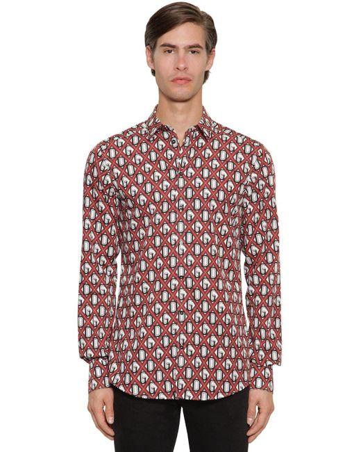 Рубашка Из Хлопка С Принтом Dolce & Gabbana для него, цвет: Red